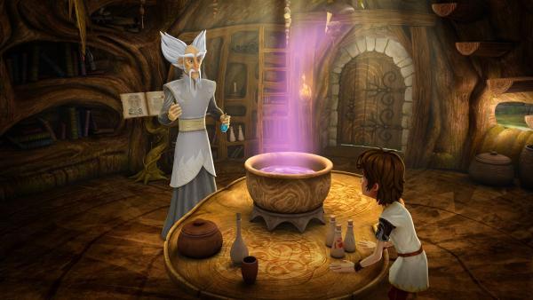 Arthur bittet seinen Freund Merlin um Hilfe. | Rechte: SWR/Blue Spirit Productions/TéléTOON+/Canal+