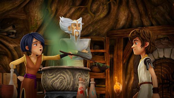 Morgan lässt Arthur den hungerstillenden Zaubertrank von Merlin probieren. | Rechte: SWR/Blue Spirit Productions/TéléTOON+/Canal+