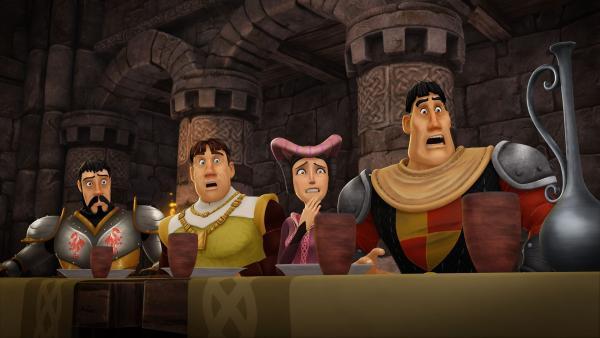 Ulfin und der Hofstaat von Camelot sind entsetzt. Ihr König sagt plötzlich das Gegenteil von dem, was er meint.   Rechte: SWR/Blue Spirit Productions/TéléTOON+/Canal+