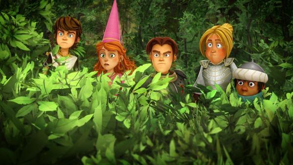 Die Freunde der Tafelrunde gehen Hinweisen auf ein Monster auf Camelot nach. | Rechte: SWR/Blue Spirit Productions/TéléTOON+/Canal+