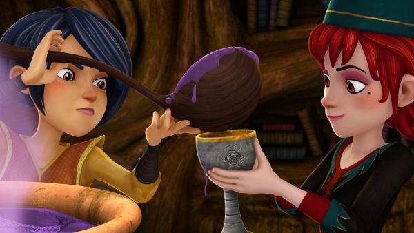 Morgan bereitet gemeinsam mit der geheimnisvollen Zauberschülerin Aeryn einen Trank für König Uther. | Rechte: SWR/Blue Spirit Productions/TéléTOON+/Canal+