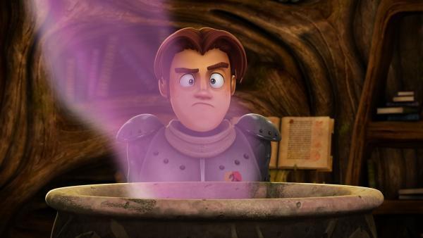 Als Mutprobe soll Gawain von Merlins ekliger Suppe kosten. | Rechte: SWR/Blue Spirit Productions/TéléTOON+/Canal+