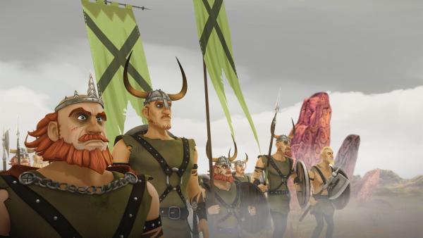 Horsa und seine Leute wollen Schloss Camelot überfallen. | Rechte: SWR/Blue Spirit Productions/TéléTOON+/Canal+