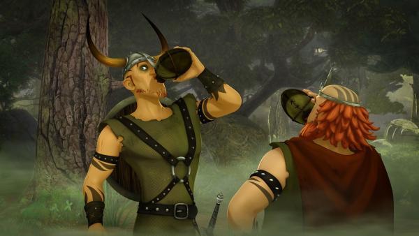 Ohne es zu wissen, trinken König Horsa und Prinz Föhr vom Quell des Mutes, der Feige mutig und Mutige übermütig macht.   Rechte: SWR/Blue Spirit Productions/TéléTOON+/Canal+