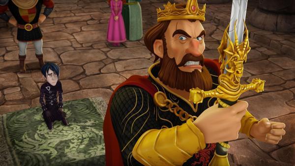 König Uther ist außer sich: Mordred hält den Zauberer Merlin auf Schloss Tintagel gefangen, um ihn zu erpressen.   Rechte: SWR/Blue Spirit Productions/TéléTOON+/Canal+