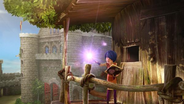 Morgan übt den 'magischen Ortswechsel', um das Schwert Excalibur wegzuzaubern. | Rechte: SWR/Blue Spirit Productions/TéléTOON+/Canal+