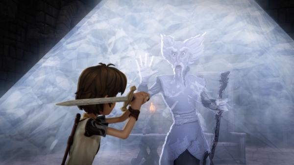 Mit dem Zauberschwert Excalibur will Arthur seinen Freund Merlin aus dem Glaskäfig befreien. | Rechte: SWR/Blue Spirit Productions/TéléTOON+/Canal+