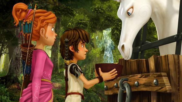 Arthur und Guinevere wollen das Einhorn aus der Gefangenschaft befreien. | Rechte: SWR/Blue Spirit Productions/TéléTOON+/Canal+
