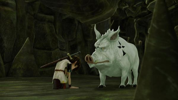 Arthur einigt sich mit dem legendären weißen Eber. | Rechte: SWR/Blue Spirit Productions/TéléTOON+/Canal+
