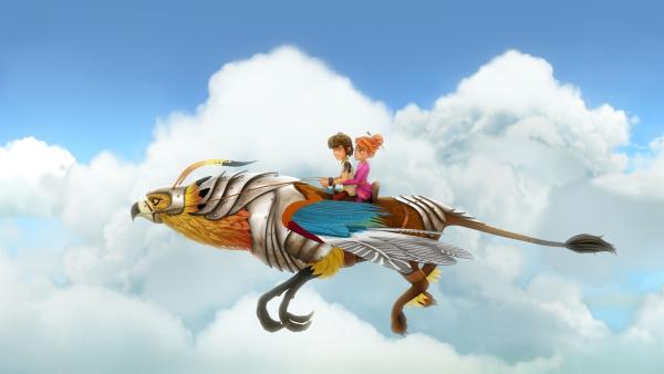 Arthur und Guinevere unternehmen eine Spritztour auf einem königlichen Greifen. | Rechte: SWR/Blue Spirit Productions/TéléTOON+/Canal+