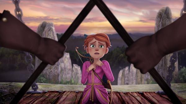 Guinevere ist geschockt – plötzlich wird ihr der Zugang zu Schloss Camelot verwehrt.   Rechte: SWR/Blue Spirit Productions/TéléTOON+/Canal+