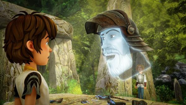 Ritter Gottfried will Arthur davon überzeugen, mit seiner Rüstung ein mutiger Ritter zu werden. | Rechte: SWR/Blue Spirit Productions/TéléTOON+/Canal+