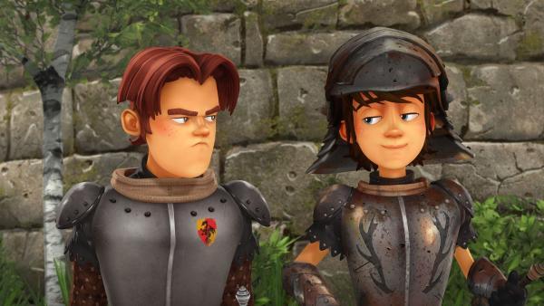 Gawain gefällt es gar nicht, dass Arthur mit seiner neuen Rüstung so gut ankommt. | Rechte: SWR/Blue Spirit Productions/TéléTOON+/Canal+