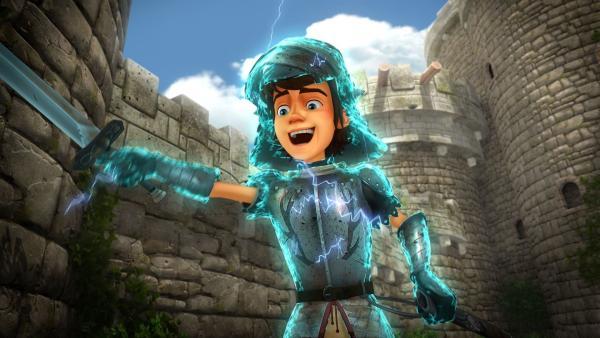 Arthurs magische Rüstung macht ihn plötzlich zum Helden. | Rechte: SWR/Blue Spirit Productions/TéléTOON+/Canal+