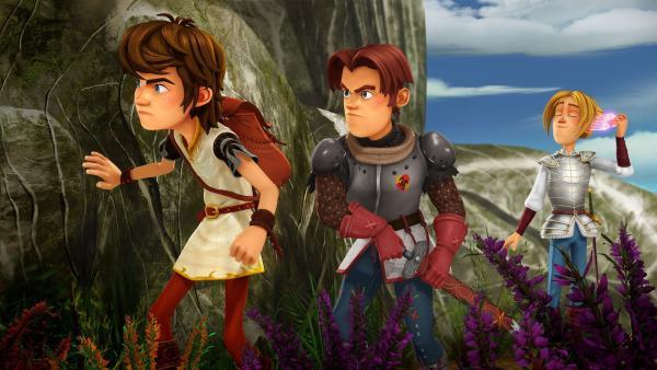 Arthur, Gawain und Tristan schleichen sich an die Höhle des Drachenwolfs an. | Rechte: SWR/Blue Spirit Productions/TéléTOON+/Canal+