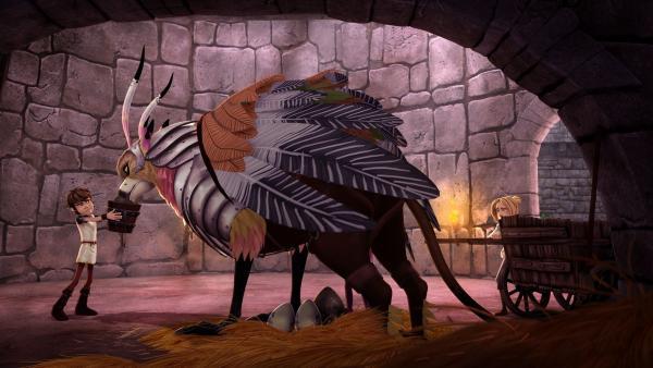 Arthur will versuchen, das Drachenei vom königlichen Greifen ausbrüten zu lassen. | Rechte: SWR/Blue Spirit Productions/TéléTOON+/Canal+