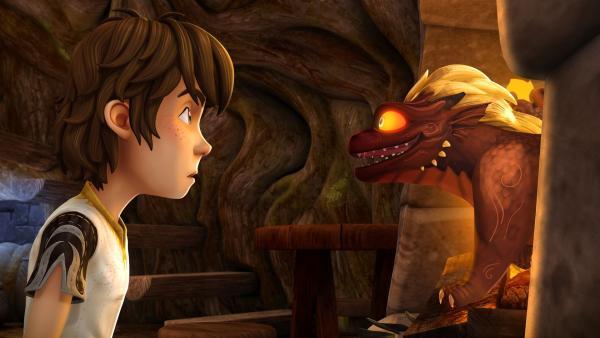 Arthur kann es kaum fassen. Aus dem Drachenei ist ein Drachenbaby geschlüpft. | Rechte: SWR/Blue Spirit Productions/TéléTOON+/Canal+