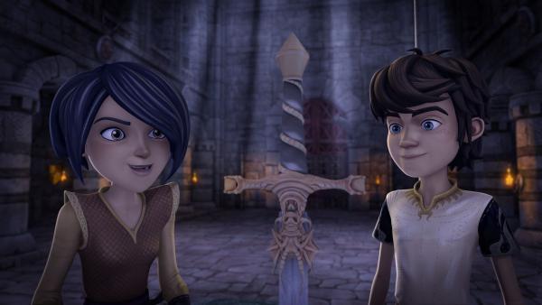 Arthur und Morgan haben sich in den Thronsaal geschlichen, um an das Zauberschwert Excalibur zu kommen. | Rechte: SWR/Blue Spirit Productions/TéléTOON+/Canal+