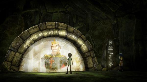 Der Waisenjunge Arthur befragt das Orakel nach seinen Eltern. | Rechte: SWR/Blue Spirit Productions/TéléTOON+/Canal+