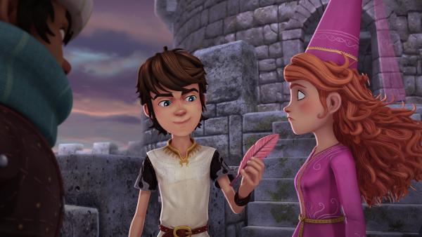Die Feder des Greifen bringt Arthur und Guinevere auf eine Idee. | Rechte: SWR/Blue Spirit Productions/TéléTOON+/Canal+