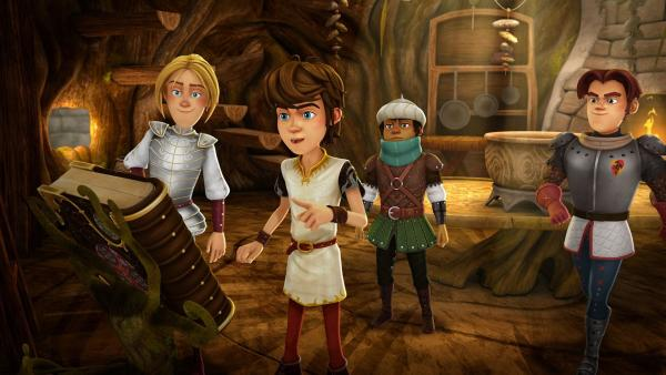 Arthur und seine Freunde lesen im Zauberbuch von der Macht des sagenhaften Grals. | Rechte: SWR/Blue Spirit Productions/TéléTOON+/Canal+