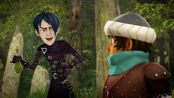 Mordred ist der Duftspur von Sagramors Parfum gefolgt und hat die Tafelrunde im Wald aufgespürt.   Rechte: SWR/Blue Spirit Productions/TéléTOON+/Canal+