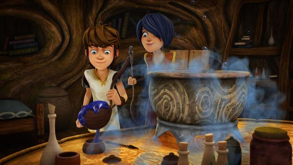 Arthur und Morgan brauen Tinte für den magischen Feenpfad. | Rechte: SWR/Blue Spirit Productions/TéléTOON+/Canal+