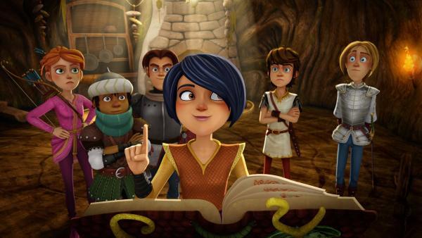 Morgan weiß, wo die Freunde der Tafelrunde eine Klaue des Drachen finden können.   Rechte: SWR/Blue Spirit Productions/TéléTOON+/Canal+