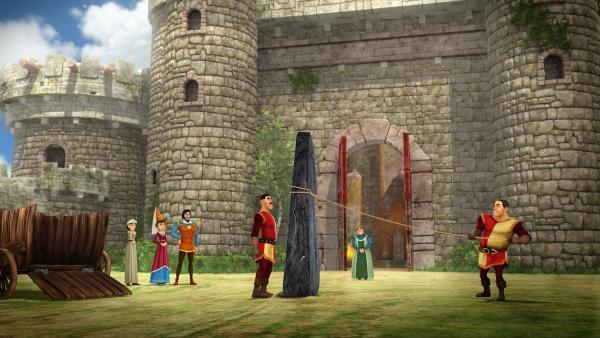 König Uther hat sich einen Menhir aus dem Wald ins Schloss bringen lassen. | Rechte: SWR/Blue Spirit Productions/TéléTOON+/Canal+