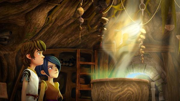 Merlin erscheint Arthur und Morgan aus seinem Zaubertrank. Er hat einen Rat für sie.   Rechte: SWR/Blue Spirit Productions/TéléTOON+/Canal+