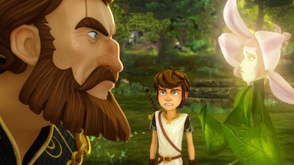 König Uther und die Fee des Zauberwaldes stehen sich unversöhnlich gegenüber.   Rechte: SWR/Blue Spirit Productions/TéléTOON+/Canal+