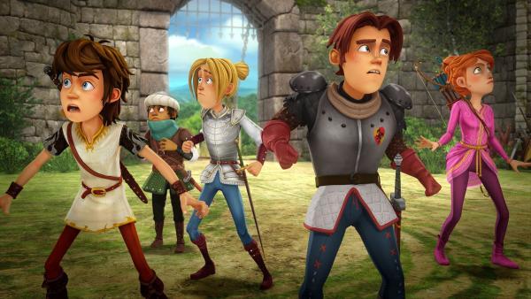 Als Arthur und seine Freunde zurück nach Camelot kommen, ist die Burg verlassen. | Rechte: SWR/Blue Spirit Productions/TéléTOON+/Canal+