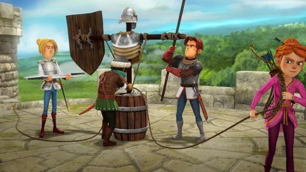 Tristan, Sagramor, Gawain und Guinevere bauen Vogelscheuchen in Rüstungen. Von weitem soll es aussehen, als sei die Burg voller Soldaten. | Rechte: SWR/Blue Spirit Productions/TéléTOON+/Canal+