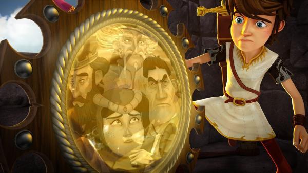 Arthur ist verzweifelt: der gesamte Hofstaat ist im magischen Spiegel gefangen. | Rechte: SWR/Blue Spirit Productions/TéléTOON+/Canal+