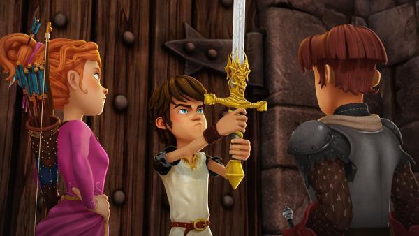 Guinevere, Arthur und Gawain nutzen die Kraft des Zauberschwertes Excalibur. | Rechte: SWR/Blue Spirit Productions/TéléTOON+/Canal+
