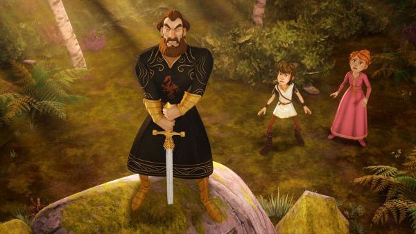 König Uther scheitert bei dem Versuch, das Schwert Excalibur aus dem Stein zu ziehen. | Rechte: SWR/Blue Spirit Productions/TéléTOON+/Canal+