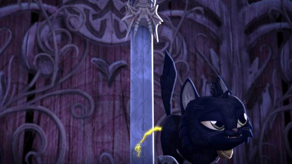Das Kätzchen Migarou pinkelt an das Zauberschwert Excalibur und löst damit eine Katastrophe aus. | Rechte: SWR/Blue Spirit Productions/TéléTOON+/Canal+
