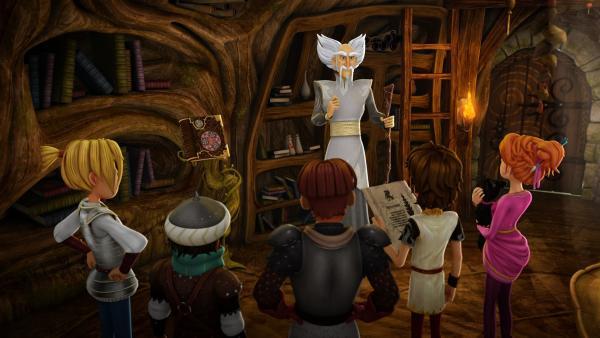 Merlin versammelt die Freunde der Tafelrunde um sich, um das gemeinsame Vorgehen zu besprechen. | Rechte: SWR/Blue Spirit Productions/TéléTOON+/Canal+