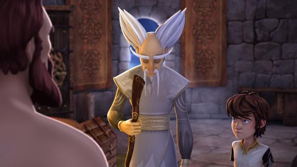 Arthur und Merlin bekommen Ärger von König Uther, weil sie das Zauberschwert Excalibur beschädigt haben. | Rechte: SWR/Blue Spirit Productions/TéléTOON+/Canal+