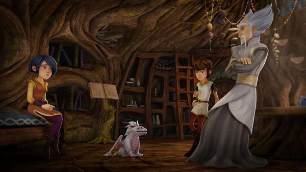 Morgan, Arthur und Merlin beraten, was mit dem Monddrachen zu tun ist. | Rechte: SWR/Blue Spirit Productions/TéléTOON+/Canal+