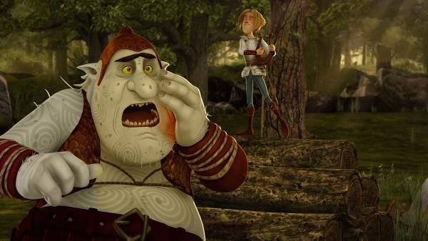 Tristan versucht, den Oger trotz Zahnschmerzen in den Schlaf zu singen. | Rechte: SWR/Blue Spirit Productions/TéléTOON+/Canal+