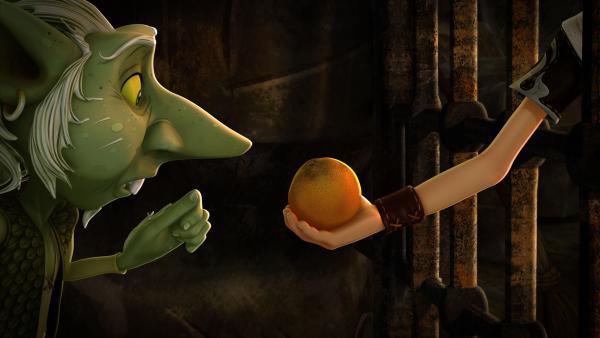 Der Kobold Toutrok sitzt im Gefängnis, weil er angeblich Orangen gestohlen hat. | Rechte: SWR/Blue Spirit Productions/TéléTOON+/Canal+
