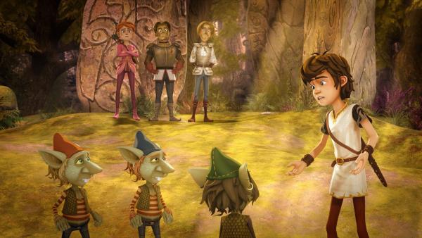 Arthur findet heraus, dass die Kobolde Sagramors Orangen gestohlen haben. | Rechte: SWR/Blue Spirit Productions/TéléTOON+/Canal+