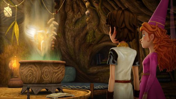 Arthur will eine Heldentat vollbringen und bittet Merlin ihn zu prüfen. | Rechte: SWR/Blue Spirit Productions/TéléTOON+/Canal+