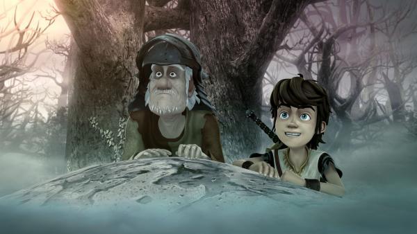 """Arthur und der urige, alte Ritter Pelleas machen sich auf, um die Krone des """"großen Königs"""" zu finden.   Rechte: SWR/Blue Spirit Productions/TéléTOON+/Canal+"""
