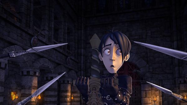 Einmal mehr wird Mordred dabei erwischt, dass er das Zauberschwert Excalibur stehlen will. | Rechte: SWR/Blue Spirit Productions/TéléTOON+/Canal+