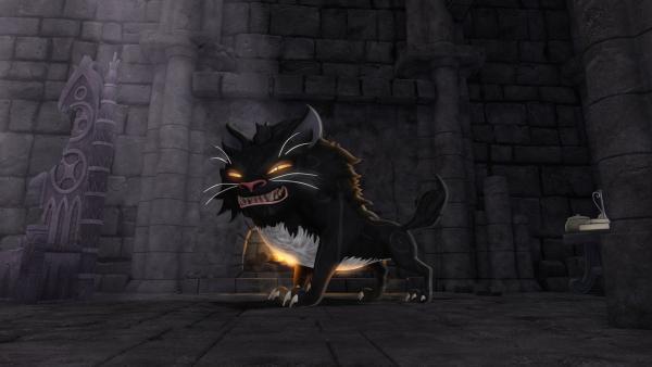 Das Kätzchen Migarou hat sich in eine Werwolfkatze verwandelt. | Rechte: SWR/Blue Spirit Productions/TéléTOON+/Canal+