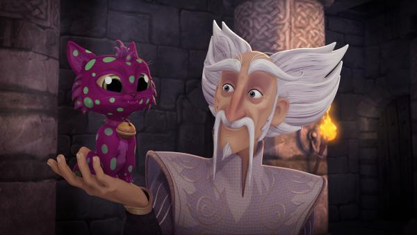 Merlin freut sich über die lustige Verwandlung des Kätzchens Migarou. | Rechte: SWR/Blue Spirit Productions/TéléTOON+/Canal+
