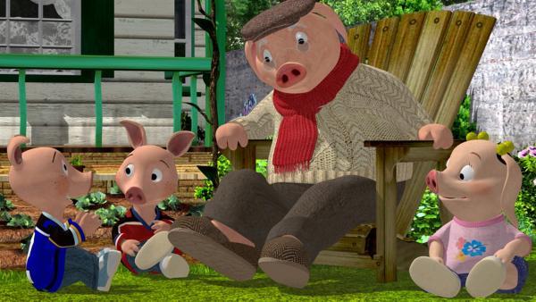 Opa Ringel erzählt in dieser Folge seinen drei Enkeln die Geschichte, als sein Freund Hörnchen in einen Käfer verwandelt wurde.   Rechte: KiKA/2004 Entara Limited