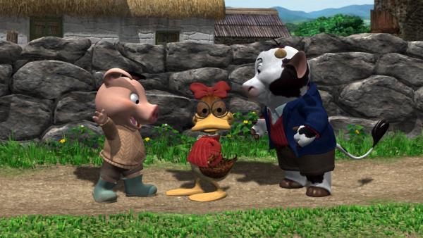 In der heutigen Folge erzählt Opa Ringel seinen Enkeln, wie er damals mit seinen Freunden Entje und Hörnchen einmal die Katze von Miss Nanny suchte.   Rechte: KiKA/2004 Entara Limited